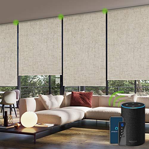 Yoolax Jacquard Elektrisches Rollo Alexa WiFi Smart Rolladen mit Akkumotor und Fernbedienung 100% Verdunkelung nach maß für Home Office, Schnurlos(Jacquard Khaki)