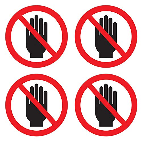 dealzEpic - Do Not Touch Sticker/Do Not Use Hand Sign - Self Adhesive Peel and Stick Round Vinyl Decal - 3.94 in Diameter | Pack of 4 Pcs