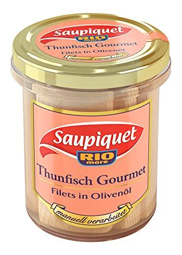 Saupiquet Rio Mare Gourmet Thunfisch-Filets in Olivenöl, Hochwertiges Olivenöl, Ganze Filets im Glas, von Hand verarbeitet, das Beste vom Thunfisch, Premium-Filets für besondere Anlässe, 180g