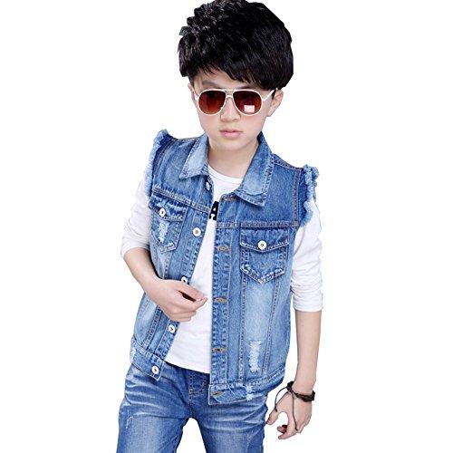 CYSTYLE Kinder Baby Jungen Weste Ärmellose Kapuze Jeansjacke Jeansweste Biker Fashion Denim Slim Fit Outwear Mantel Herbst Winter (140CM/Körpergröße 124-128cm)