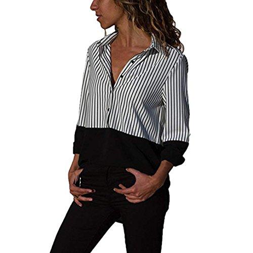 SHOBDW Moda para Mujer Otoño Patchwork de Manga Larga Color botón a Rayas Casual Camisetas Tops Blusa(Negro,M)