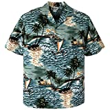 3XL Teal Outrigger Canoe Voyager Hawaiian Aloha Shirt