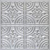 #205 (LOT of 12) Silver 2x2 PVC Faux Tin Decorative Ceiling Tile Panels Glue Up (Approx. 48 sq. ft.)