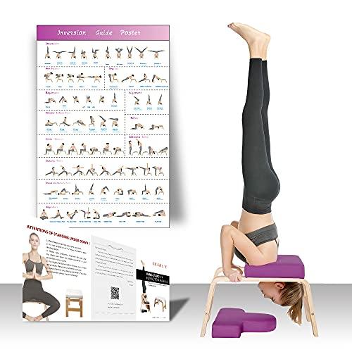 Restrial Life Silla de Inversión Yoga - Silla de Yoga de pie para la Familia, el Gimnasio - Almohadillas de Madera y PU - Alivie la Fatiga y desarrolle el Cuerpo (Violeta)