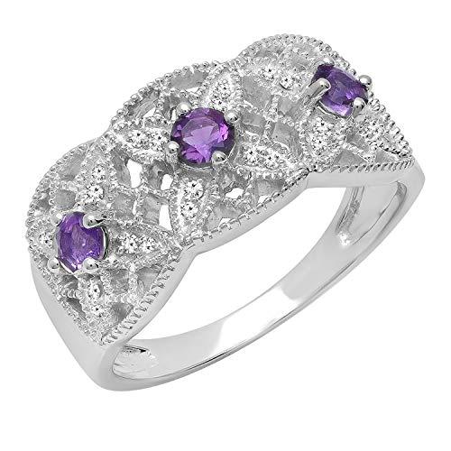 Dazzlingrock Collection 10K Round Amethyst & White Diamond Ladies Bridal Engagement Ring, White Gold, Size 7