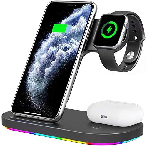 DOOK 3 En 1 Cargador Inalámbrico Rápido, Estación de Carga Rápida Qi Inalámbrica Soportes para iPhone SE 12 Pro/12 Pro Max/11/11 Pro, X/XR/XS Apple Watch Series 1/2/3/4/5 Airpods 2
