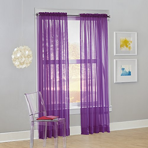 No. 918 Calypso Sheer Voile Rod Pocket Curtain Panel, 59' x 84', Purple, 1 Panel
