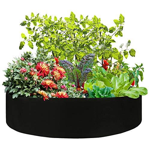 VKTY Hochbeet für den Garten, ca. 45 Liter, rundes Stoff-Hochbeet mit 6 Anhängern