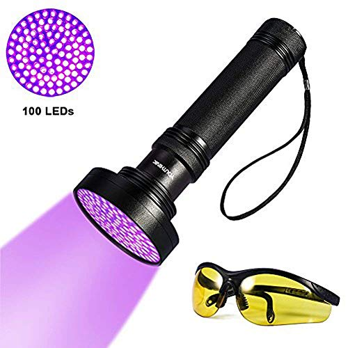 YOUTHINK Torcia UV, Lampada Ultravioletta 395nm con Occhiali da Sole UV per Animali Cane Gatto Urina, Scorpioni (100 LEDs) [Classe di efficienza energetica A]