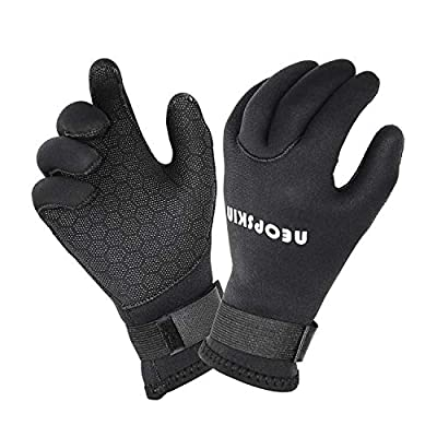 NeopSkin Water Gloves, 3mm & 5mm Neoprene Five Finger Warm Wetsuit Winter Gloves for Scuba Diving Snorkeling Paddling Surfing Kayaking Canoeing Spearfishing Skiing (3mm-Black, XS)