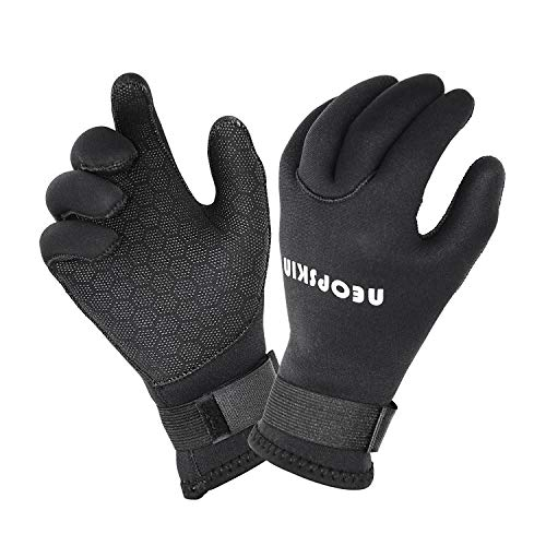 NeopSkin Water Gloves, 3mm & 5mm Neoprene Five Finger Warm Wetsuit Winter Gloves for Scuba Diving Snorkeling Paddling Surfing Kayaking Canoeing Spearfishing Skiing (3mm-Black, M)