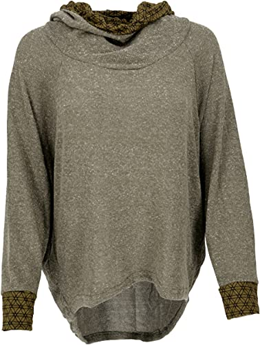 Guru-Boutique, Sweat à Capuche, Sweat-Shirt, Pullover, Hoodie, Vert Kaki, Lecoton, Size:M/L (42), Chandails, Sweat-Shirts à Manches Longues