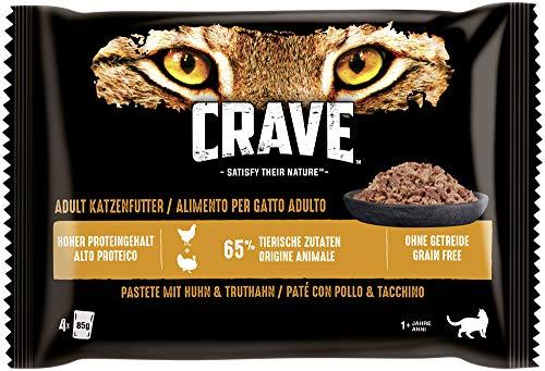 CRAVE Katze Portionsbeutel Multipack Huhn und Truthahn 4 x 85g Katzennassfutter