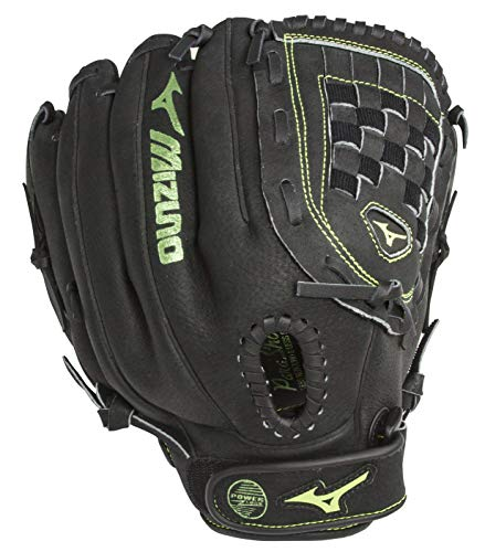 Mizuno Womens MMX1205 Ball Park Softball Glove, Right Hand Throw, Black/Green, 12 Inches