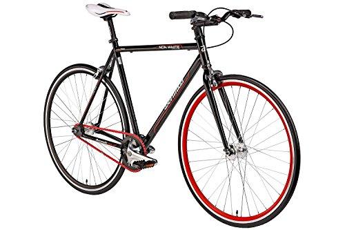 """Fixie 28 Zoll Singlespeed Retro Fahrrad in schwarz / rot 28"""" Fitnessbike..."""