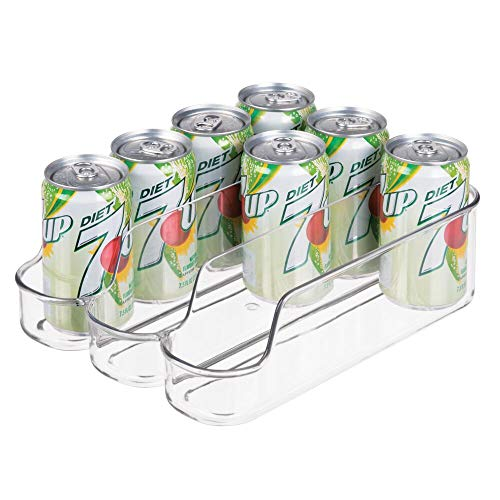 mDesign Small Plastic Kitchen Bin Storage Organizer Rack for Pop/Soda Bottles for Refrigerator, Pantry, Countertops, and Cabinets - Holds Beverage Cans, Water, Juice Boxes 8 oz Cans Only - Clear