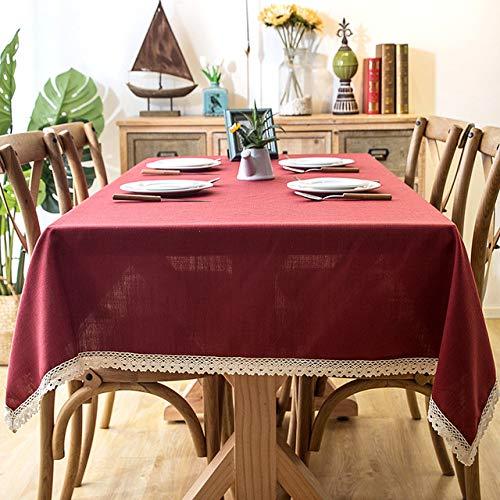 Aututer Einfarbige Leinentischdecke wasserdicht ölbeständig Gartenspitze Tischdecke drucken Hochzeit Geburtstagsfeier Outdoor-Tischdecke