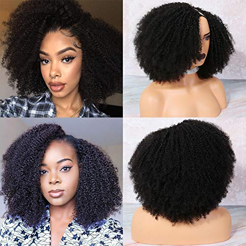 U Part Wigs Human Hair for Black Women Kinky Curly Human Hair Wig MSGEM Brazilian Virgin Hair Glueless Full Machine Made Wig 22 inch Long Curly Remy Hair