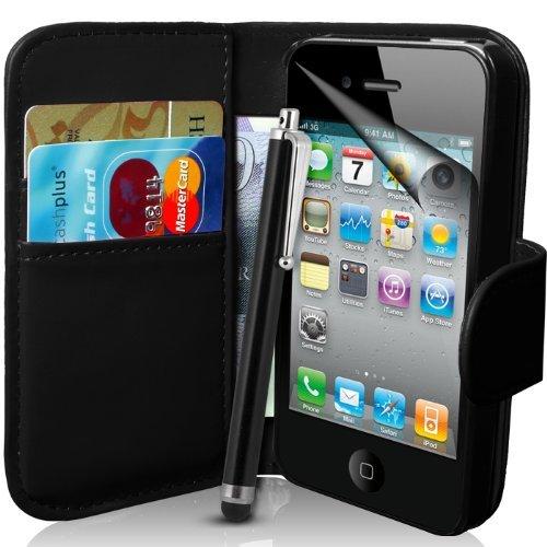 Supergets - Custodia a Portafoglio per Apple iPhone 4S e 4 in Pelle Sintetica con Stilo e Pellicola di Protezione Schermo