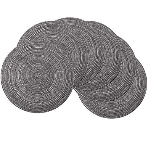 SHACOS Baumwolle Platzsets Set von 6,Tischsets Rund Abwaschbar Verschleißfest Hitzebeständig,geflochtene Platzdeckchen,Ideal für Küche,Dekor,- Dunkelgrau