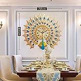 Relojes de Pared Reloj de Pared Pavo Real Decoración del hogar Reloj de Cuarzo silencioso Cristal Adecuado para la Entrada a la Sala de Estar