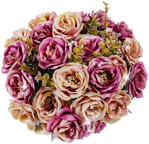 Ruiuzi Künstliche Seidenblumen Rose – 2 Stück Home Hochzeit Bouquet Decor – Fake Blumen für Büro Tisch, Raumdekoration, Party, Tischdekoration, Babyparty, DIY violett