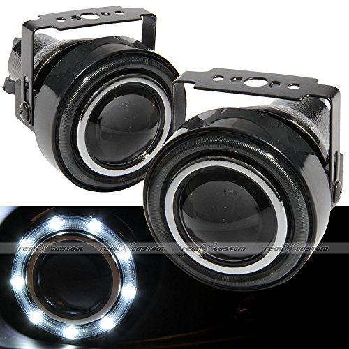 "Universal 3"" Round Projector SMDx9 White LED DRL Halo Angel Eyes Fog Lights Lamp Kit"