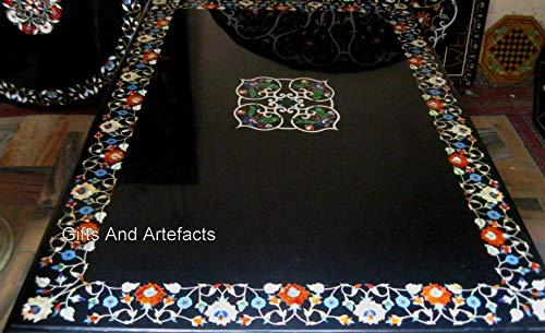 Mesa de comedor con diseño floral de mármol negro con diseño floral de 100 x 172 cm