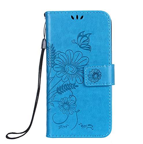 Karomenic PU Leder Hülle kompatibel mit Huawei P10 Lite Schön Schmetterling Blume Muster Handyhülle Brieftasche Silikon Schutzhülle Klapphülle Ledertasche Tasche Wallet Flip Case Etui,Blau