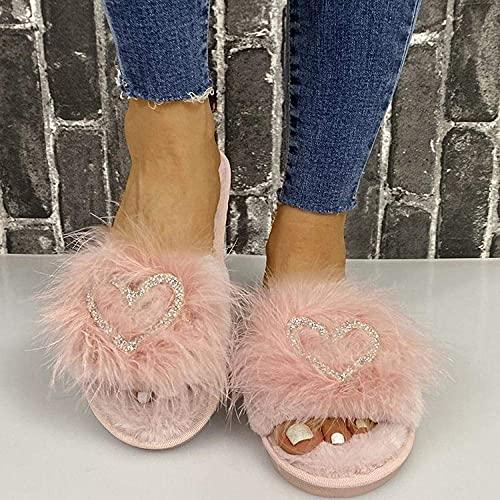 Zapatillas sin deslizamiento de casa al aire libre acogedor, zapatillas de punta abierta plana con pelo RHINESTONE RED_38, zapatillas de espuma de memoria cálida para mujer ( Color : Pink , Size : 7 )