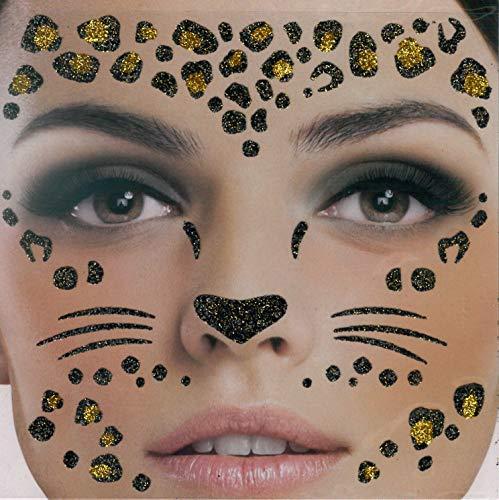 Brandsseller Gesichts-Tattoo Glitzer Leopard - Aufkleber Set Klebetattoos Temporäre Tattoos Halloween/Karneval Schwarz/Gold