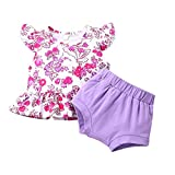 SH-RuiDu Ropa de bebé niña niño con volantes botón floral camiseta pantalones cortos elásticos 2 piezas/set