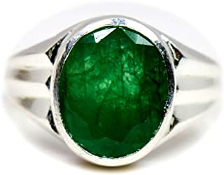 55Carat Genuine Emerald Silver Ring for Men 5 Carat Oval Shape Birthstone Size 5,6,7,8,9,10,11,12,13
