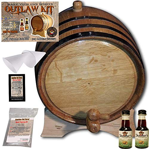 Barrel Aged Whiskey Making Kit - Create Your Own Single Malt Whisky - The Outlaw Kit from Skeeter's Reserve Outlaw Gear - MADE BY American Oak Barrel (Natural Oak, Black Hoops, 2 Liter)