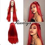 Xiweya Perruque Lace Front pour Femme, Cheveux Lisses Longs et Soyeux - Rouge - Résistantes À La Chaleur - Perruque Lace Front en Cheveux Synthétiques Longs et Doux - pour Cosplay