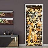 XXXCH 3D Tür Tapete -Geprägte ägyptische Pharaostatue 80x200cm Türtapete selbstklebend TürPoster - Fototapete Türfolie Poster Tapete Meer Aufkleber DIY Selbstklebende Wandbild PVC...