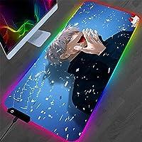 ゲーミングマウスパッド 呪術廻戦RGBマウスパッドアニメ五条悟デスクマットゲーマーPCコンピューターXLキーボードゲームアクセサリーLEDマウスパッド(I)300x800x4mm