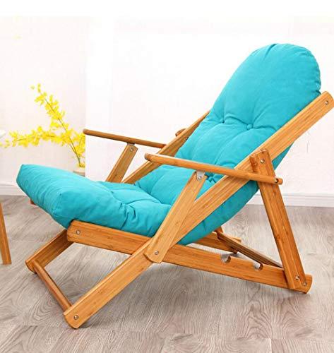 YAMEIJIA Klappender, fauler Einzelstuhl Schlafsättel Sofa Sesselstuhl Sessel Erholungs-Sessel der Balkon-Tuch Art Deck,Blue