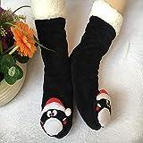 Flip Flop-GQ Calcetines de Suelo de Navidad con Cabeza de Animal 3D Calcetines Gruesos de Terciopelo Gruesos y Calcetines de Piso de Calcetines Largos y Lindos @ Black_37