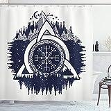 ABAKUHAUS Blau & weiß Duschvorhang, Keltischer Knoten, mit 12 Ringe Set Wasserdicht Stielvoll Modern Farbfest & Schimmel Resistent, 175x200 cm, Dunkelblau Weiß