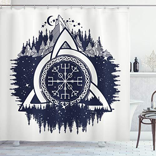 ABAKUHAUS Blau & weiß Duschvorhang, Keltischer Knoten, mit 12 Ringe Set Wasserdicht Stielvoll Modern Farbfest & Schimmel Resistent, 175x220 cm, Dunkelblau Weiß