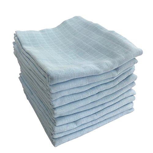 M.M.C. 10er Pack Mullwindeln | Spucktücher 100{c38b16c1ea4fe639ed180606ca586bab3c6f2165a6f9d5d4335dce6da378224e} Baumwolle - Stoffwindeln Mulltücher fürs Baby | ÖKO-TEX zertifiziert, 80x70 cm (10 Blau)