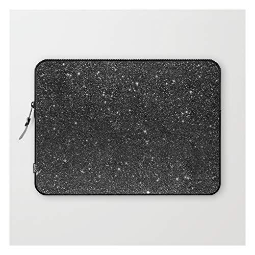 Laptop Sleeve - Laptop Sleeve - 13' - Modern Chic Elegant Trendy Faux Black Glitter by Girly Trend