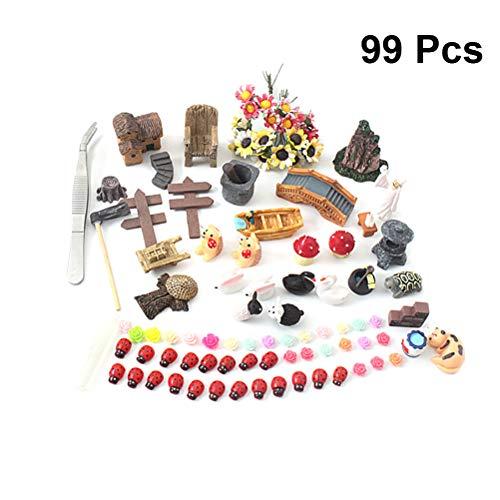 Yardwe 99 Stück Miniatur Ornament Set für DIY Fee Garten Zubehör Puppenhaus Dekoration Kinder Miniatur deko Statuen Garten