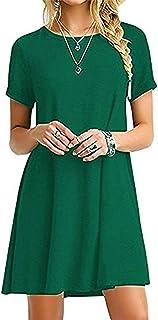 comprar comparacion YOUCHAN Vestidos Mujer de Camiseta Suelto Casual Cuello Redondo Ocasional Sólida Mini Vestido