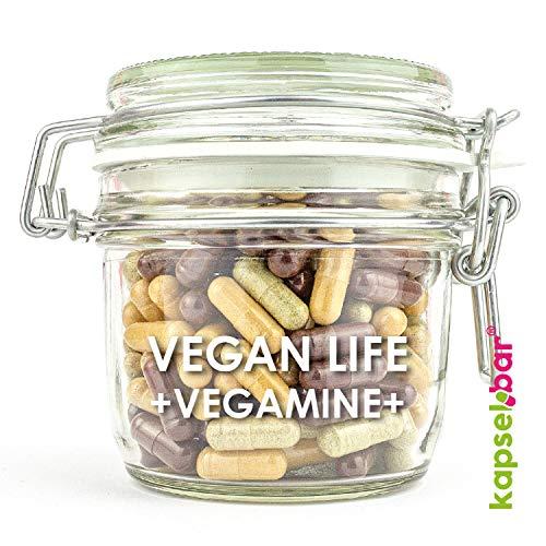 Kapselbar Vegan Life - Vegane Vitamine mit B12, Aroniabeeren Pulver & Hagebuttenextrakt 180 Kapseln 100% vegan –Multivitamin ohne tierische Zusätze
