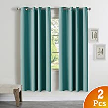 Window Treatment Thermal Insulated Solid Grommet Room Darkening Curtains/Drapes for Bedroom, Turquoise Blue Blackout Curtains Thermal Insulated French Door Curtains, 52 by 72 Inch, Aqua