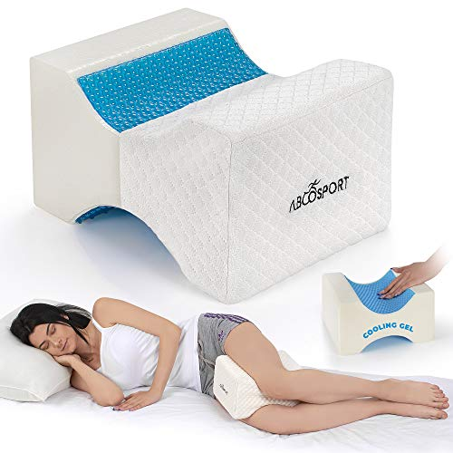 Abco Tech Memory Foam Knee Pillow with Cooling Gel – Leg Pillow Wedge for Side Sleepers, Pregnancy, Spine Alignment and Pain Relief – Breathable,...