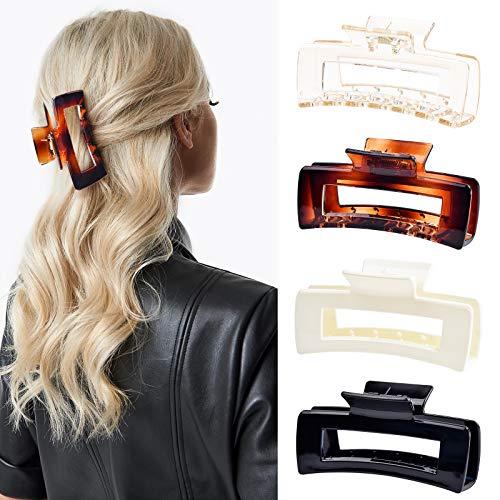 Aileam Hair Claw Clips Large Hair Clips Banana for Women Girls Thin Hair 4 Inch Transparent & Solid Color French Design Strong Hold Hair Clips for Thick Hair