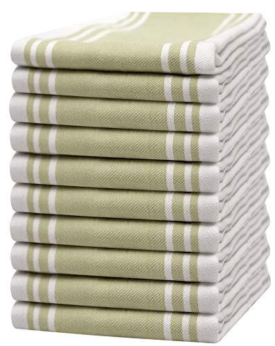 "Bumble Towels 10er Pack Set Küchenhandtücher Vintage / 20"" x 28""/ 50 x 70 cm/Weich & Saugfähig / 100% ringgesponnene Baumwolle/Luxus Geschirrhandtücher (Salbeigrün)"